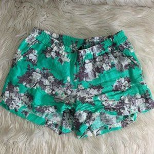 KUT From The Kloth Mint Floral Linen Shorts Size 4